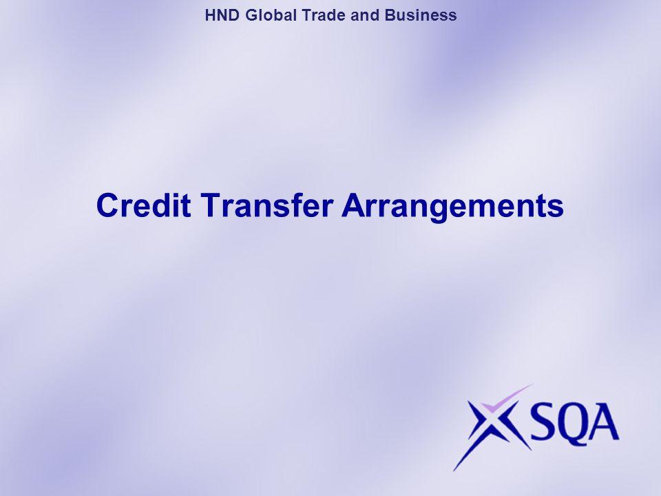 Credit Transfer Arrangements