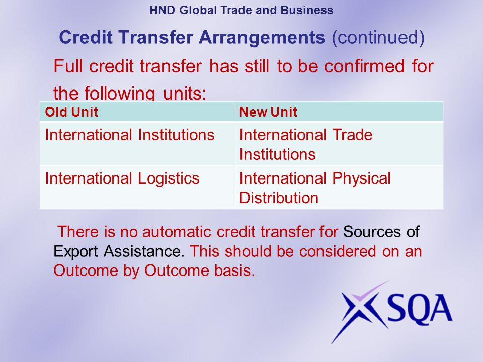 Credit Transfer Arrangements (continued) Full credit transfer has still to be confirmed for the following units: PartP HND Global Trade and Business O