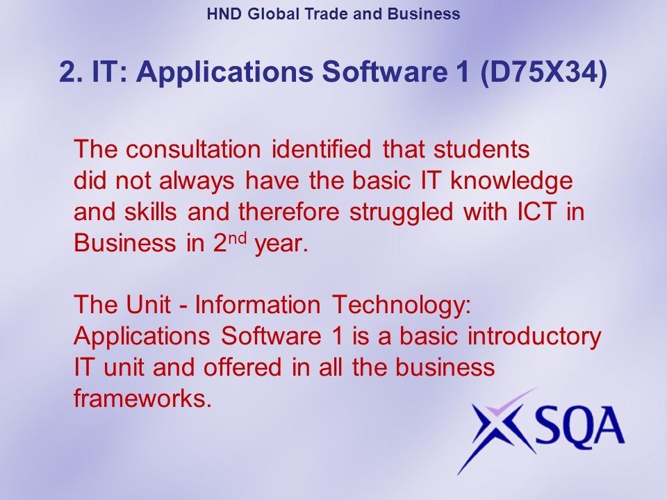 Summary of Unit Purpose: Enables students to use a range of basic IT systems and software, providing a basis for the development of further IT skills.