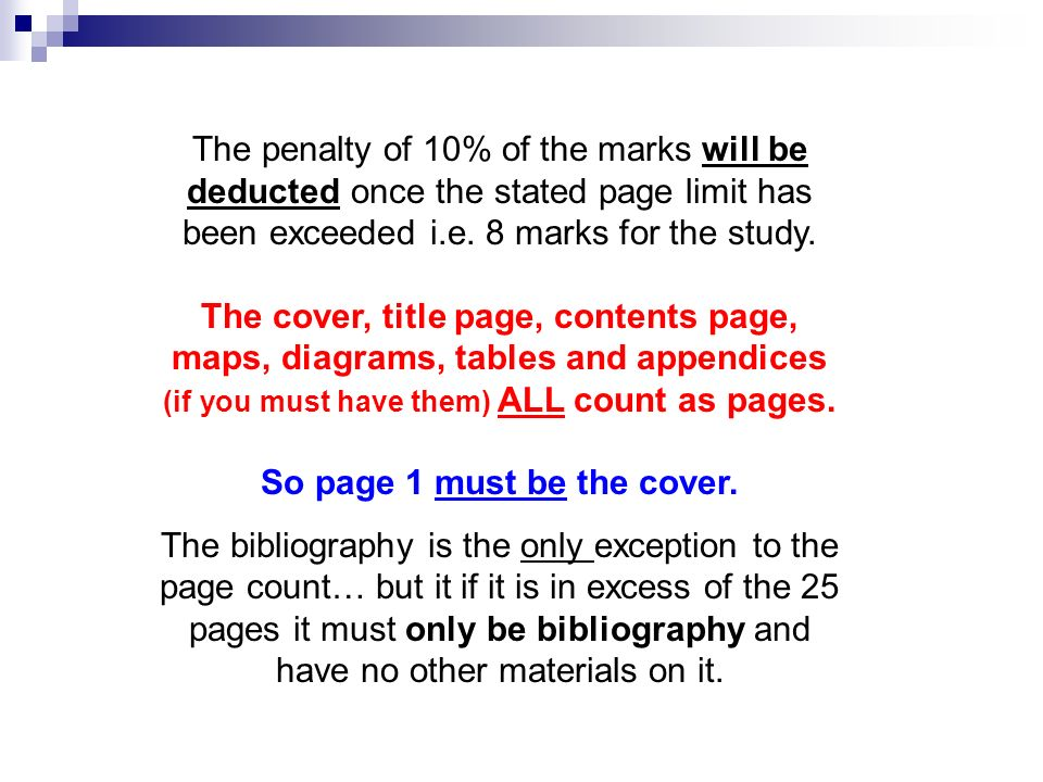 THE GEOGRAPHICAL STUDY Maximum length 25 sides of A4 paper or their equivalent.