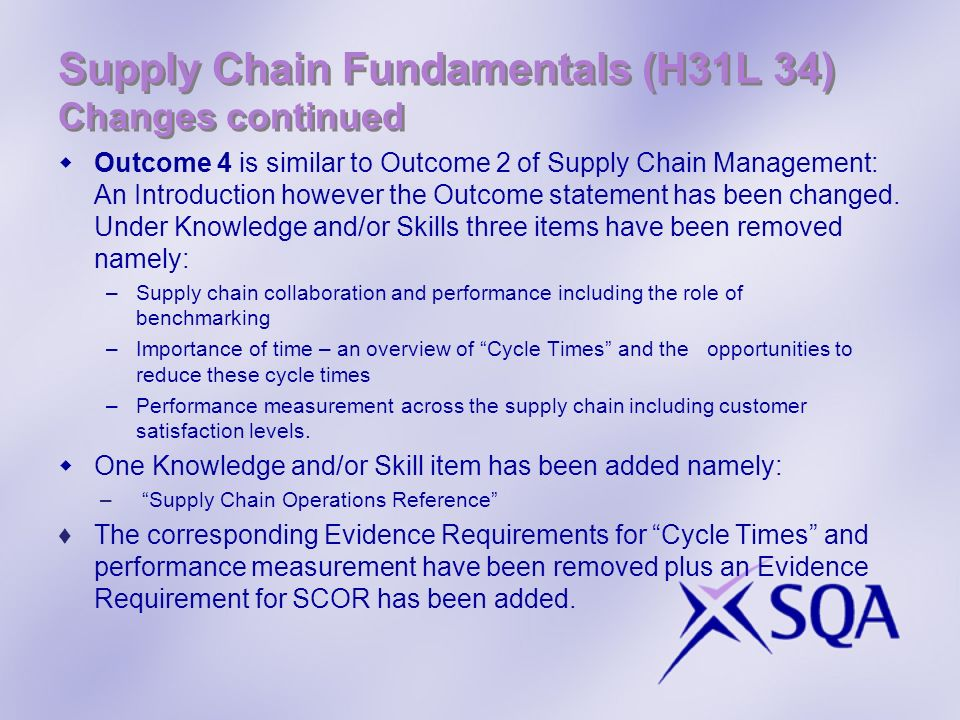 Supply Chain Fundamentals (H31L 34) Changes continued Outcome 4 is similar to Outcome 2 of Supply Chain Management: An Introduction however the Outcom