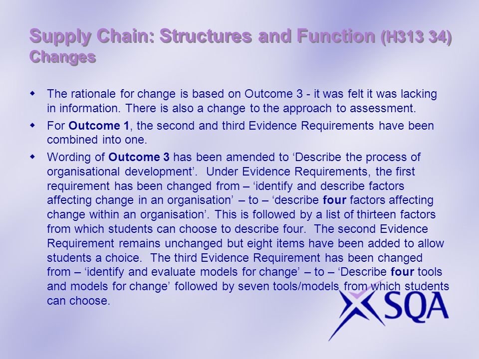 Supply Chain: Structures and Function (H313 34) Changes The rationale for change is based on Outcome 3 - it was felt it was lacking in information. Th