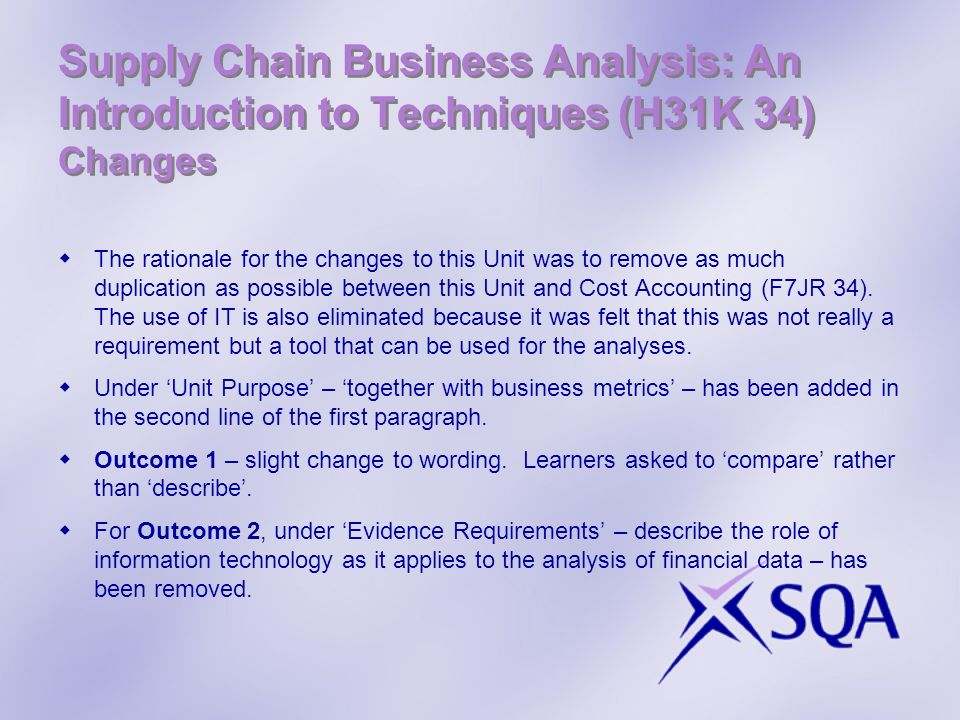 Supply Chain Business Analysis: An Introduction to Techniques (H31K 34) Changes The rationale for the changes to this Unit was to remove as much dupli