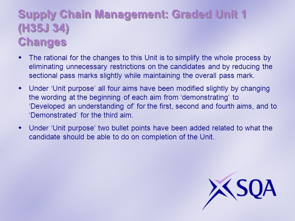 Supply Chain Management: Graded Unit 1 (H35J 34) Changes The rational for the changes to this Unit is to simplify the whole process by eliminating unn