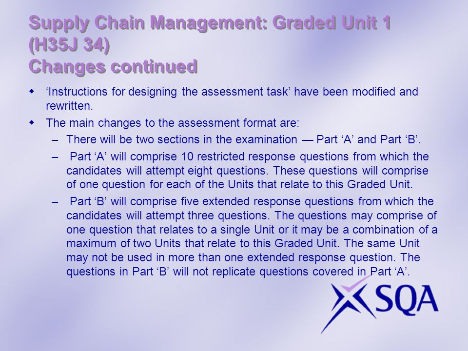 Supply Chain Management: Graded Unit 1 (H35J 34) Changes continued Instructions for designing the assessment task have been modified and rewritten. Th
