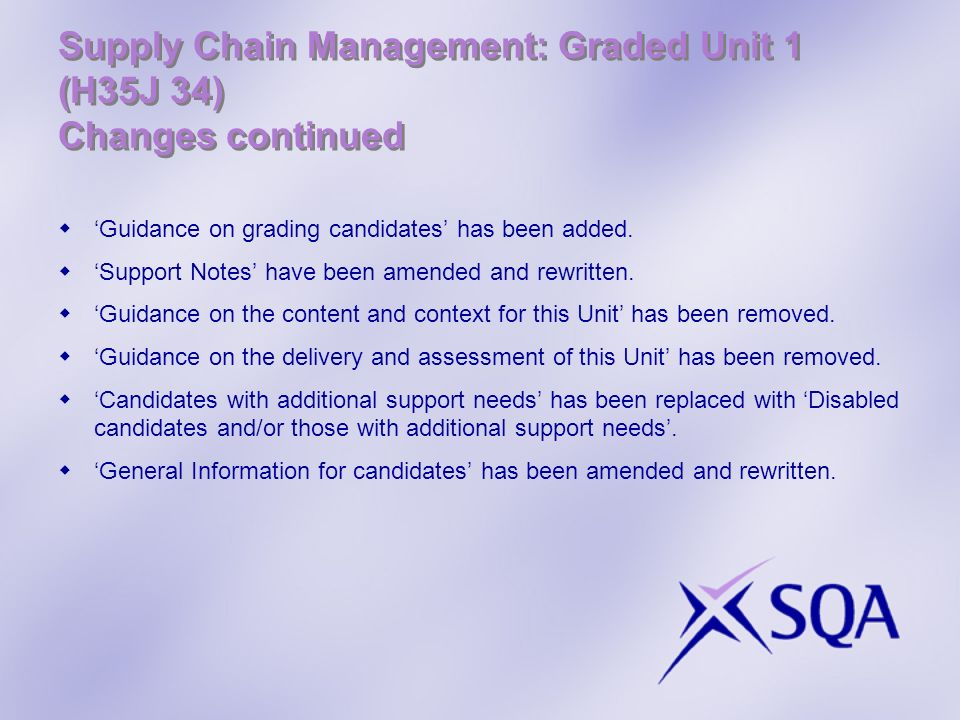 Supply Chain Management: Graded Unit 1 (H35J 34) Changes continued Guidance on grading candidates has been added. Support Notes have been amended and