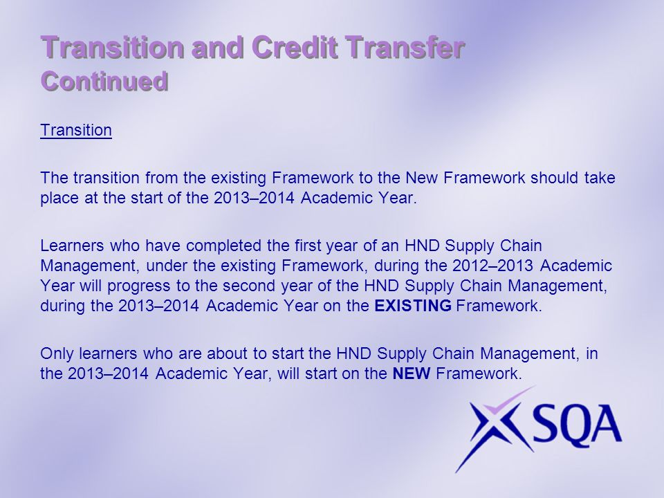Transition and Credit Transfer Continued Transition The transition from the existing Framework to the New Framework should take place at the start of