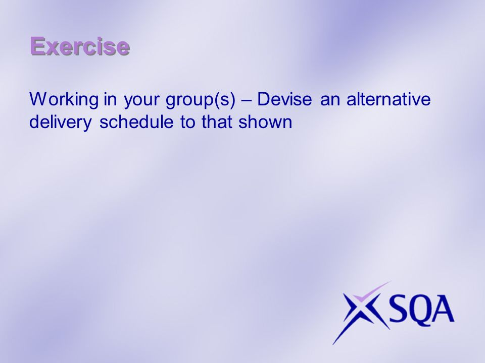 Exercise Working in your group(s) – Devise an alternative delivery schedule to that shown
