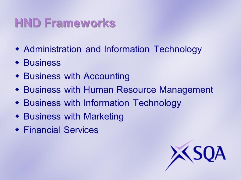 HND Frameworks start & end dates HNDCurrent code HND end date New Code HND start date Administration & ITG872 16July 2013GE7W 16Aug 2012 BusinessG7V4 16July 2013GE7X 16Aug 2012 Business with AccountingG7M0 16July 2013GE7Y 16Aug 2012 Business with HRMG7M4 16July 2013GE7V 16Aug 2012 Business with ITG7LW 16July 2013GE81 16Aug 2012 Business with MarketingG7M2 16July 2013GE80 16Aug 2012 Financial ServicesG7LY 16July 2013GE9R 16Aug 2012
