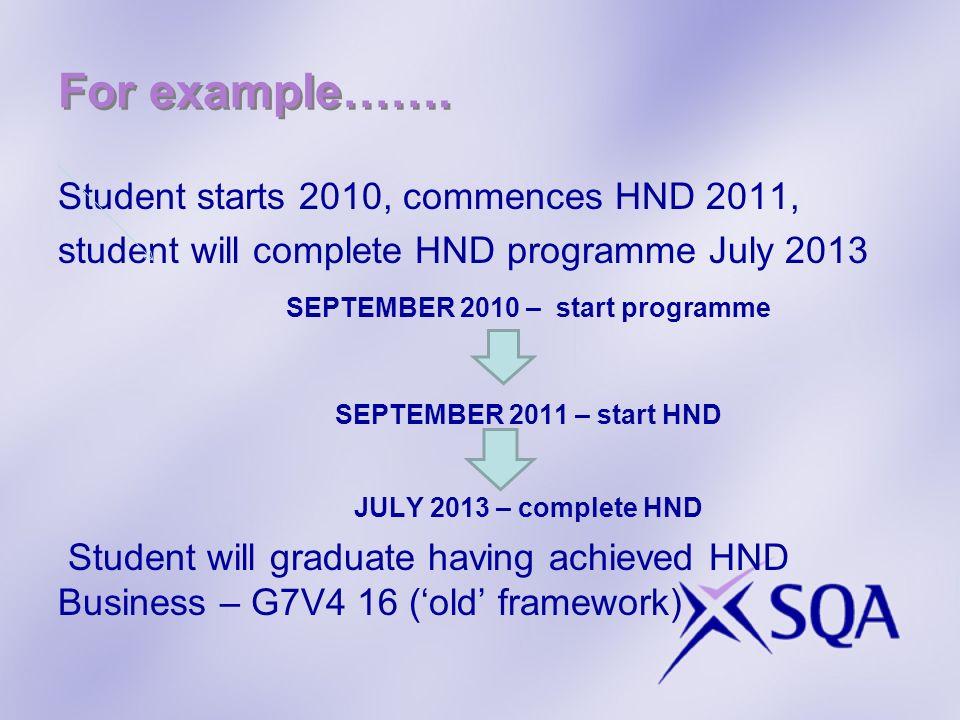 Student starts 2010, commences HND 2011, student will complete HND programme July 2013 SEPTEMBER 2010 – start programme SEPTEMBER 2011 – start HND JUL
