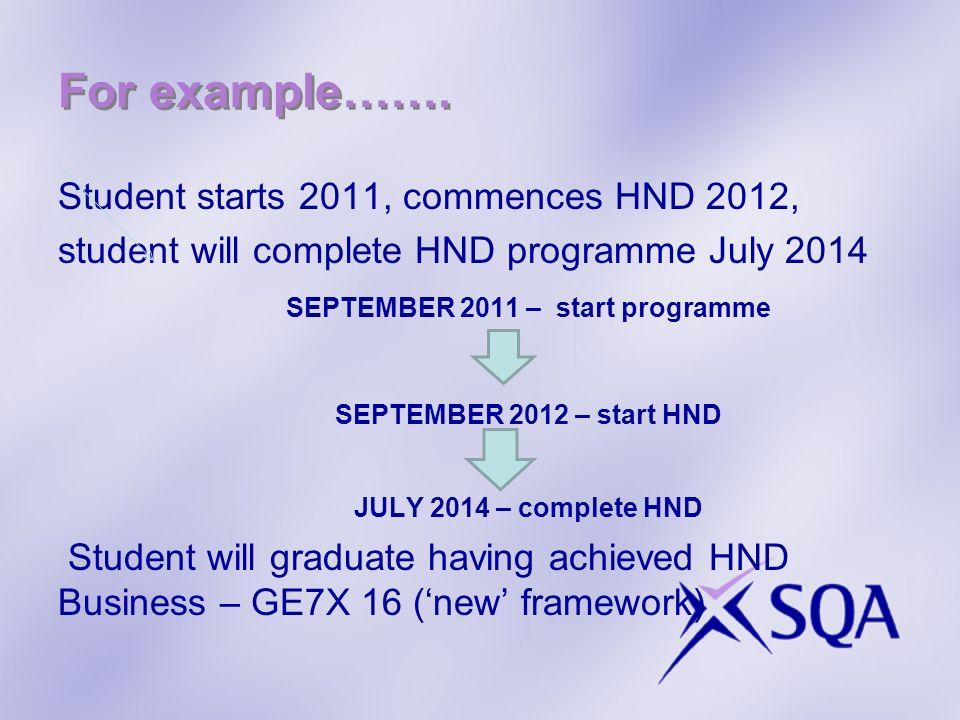 Student starts 2011, commences HND 2012, student will complete HND programme July 2014 SEPTEMBER 2011 – start programme SEPTEMBER 2012 – start HND JUL