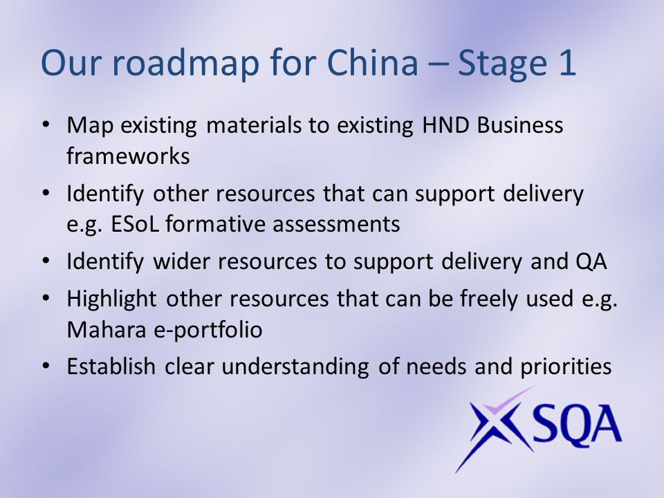 Our roadmap for China – Stage 1 Map existing materials to existing HND Business frameworks Identify other resources that can support delivery e.g.