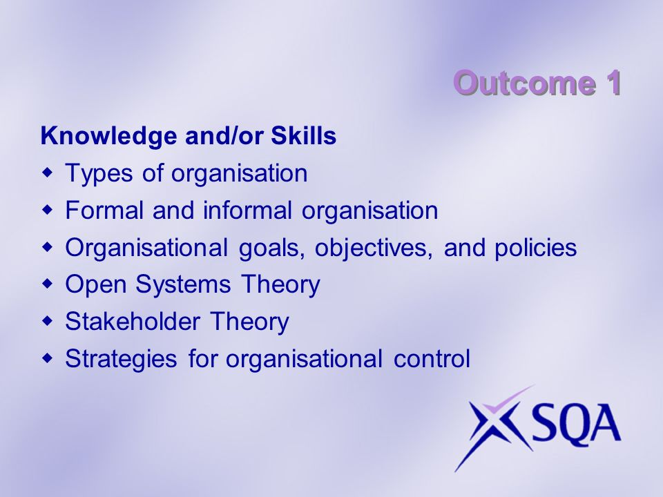 Outcome 1 Knowledge and/or Skills Types of organisation Formal and informal organisation Organisational goals, objectives, and policies Open Systems T