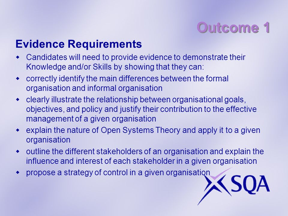 Outcome 1 Evidence Requirements Candidates will need to provide evidence to demonstrate their Knowledge and/or Skills by showing that they can: correc