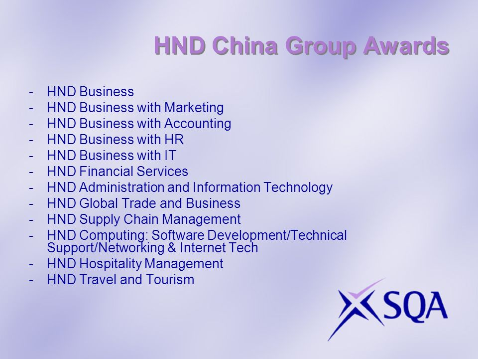 HND China Group Awards -HND Business -HND Business with Marketing -HND Business with Accounting -HND Business with HR -HND Business with IT -HND Finan