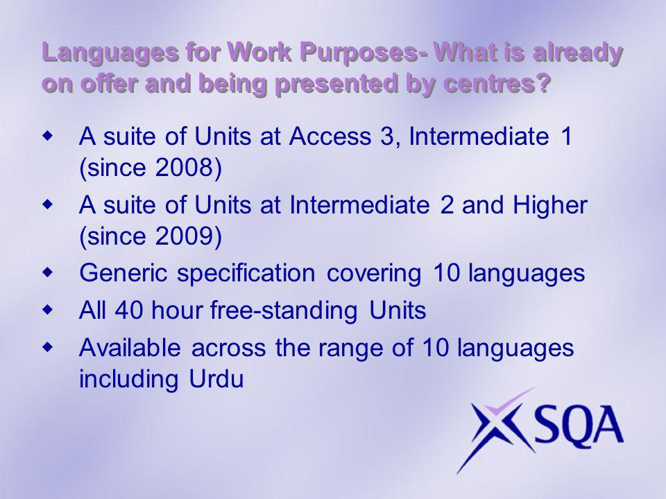 Languages for Work Purposes- What is already on offer and being presented by centres? A suite of Units at Access 3, Intermediate 1 (since 2008) A suit
