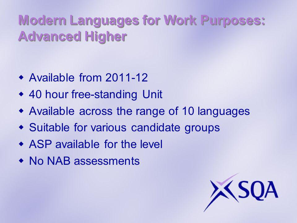Modern Languages for Work Purposes: Advanced Higher Available from 2011-12 40 hour free-standing Unit Available across the range of 10 languages Suita