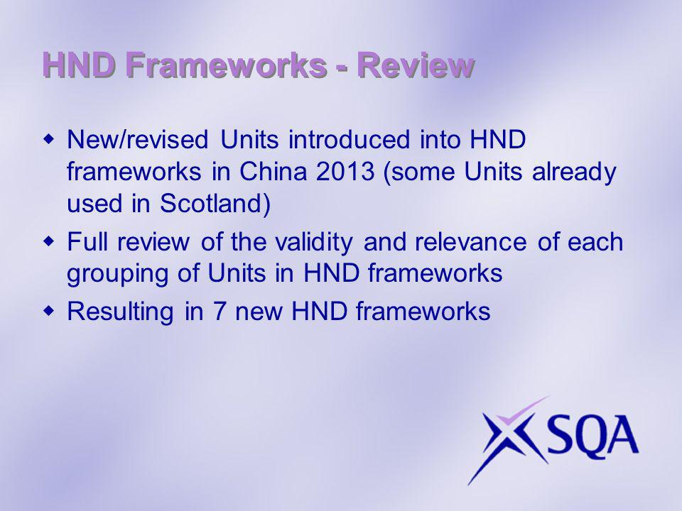 HND Frameworks - Review New/revised Units introduced into HND frameworks in China 2013 (some Units already used in Scotland) Full review of the validity and relevance of each grouping of Units in HND frameworks Resulting in 7 new HND frameworks