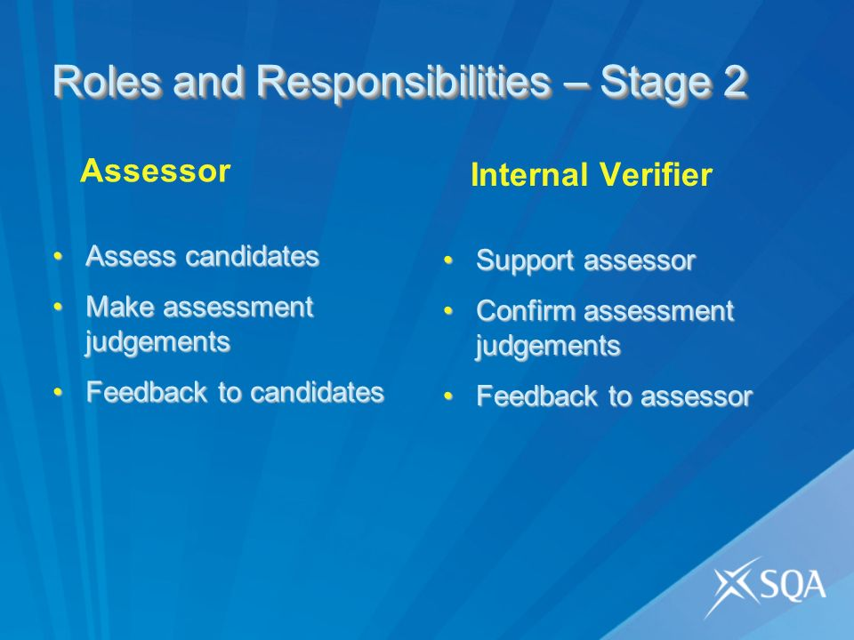 Roles and Responsibilities – Stage 2 Assessor Assess candidatesAssess candidates Make assessment judgementsMake assessment judgements Feedback to candidatesFeedback to candidates Internal Verifier Support assessorSupport assessor Confirm assessment judgementsConfirm assessment judgements Feedback to assessorFeedback to assessor