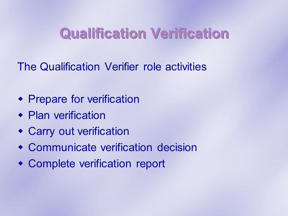 Qualification Verification The Qualification Verifier role activities Prepare for verification Plan verification Carry out verification Communicate ve