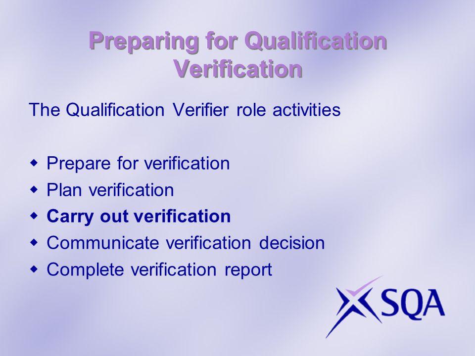 Preparing for Qualification Verification The Qualification Verifier role activities Prepare for verification Plan verification Carry out verification