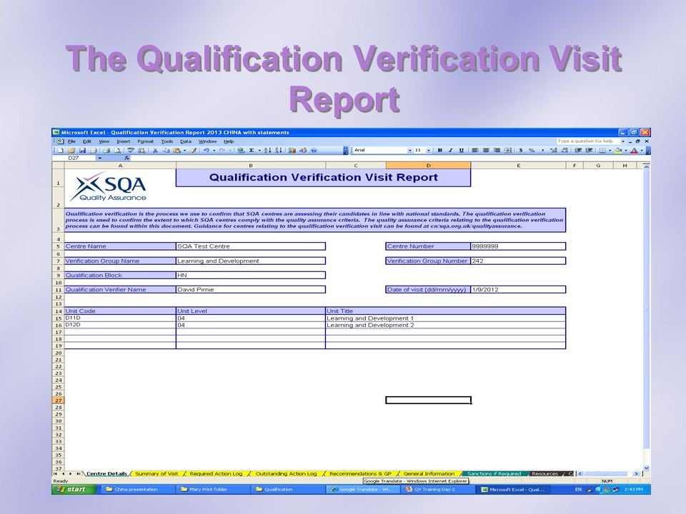 The Qualification Verification Visit Report