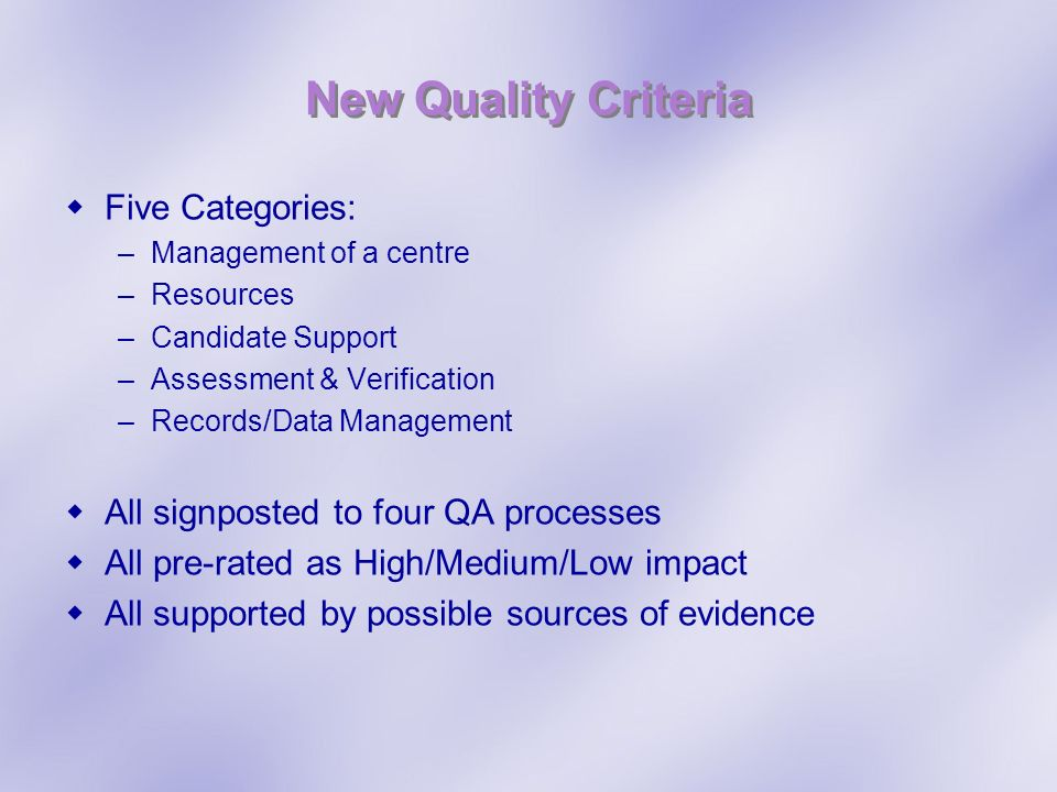 New Quality Criteria Five Categories: –Management of a centre –Resources –Candidate Support –Assessment & Verification –Records/Data Management All si