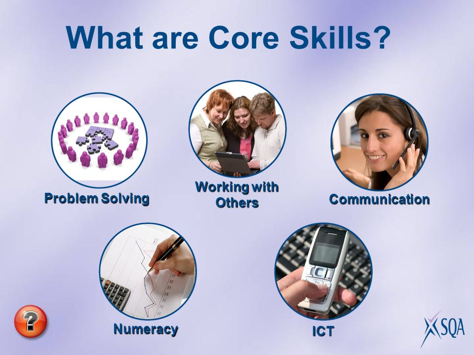 Communication ICT Numeracy Working with Others Problem Solving What are Core Skills