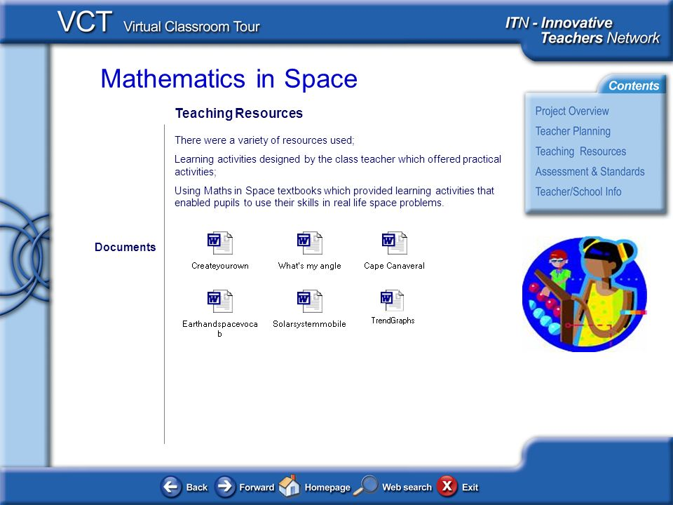 Mathematics in Space Teaching Resources There were a variety of resources used; Learning activities designed by the class teacher which offered practical activities; Using Maths in Space textbooks which provided learning activities that enabled pupils to use their skills in real life space problems.