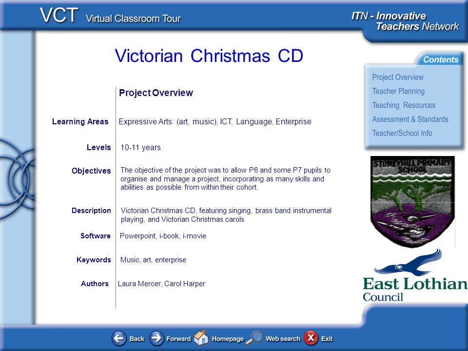 Victorian Christmas CD AuthorsLaura Mercer, Carol Harper The objective of the project was to allow P6 and some P7 pupils to organise and manage a project, incorporating as many skills and abilities as possible from within their cohort.