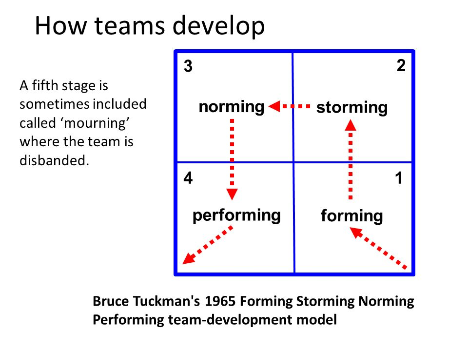 How teams develop 11 forming storming norming performing 1 2 3 4 Bruce Tuckman s 1965 Forming Storming Norming Performing team-development model A fifth stage is sometimes included called mourning where the team is disbanded.