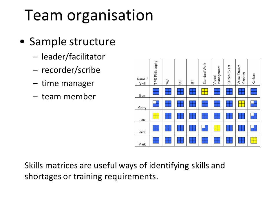 Team organisation Sample structure –leader/facilitator –recorder/scribe –time manager –team member Skills matrices are useful ways of identifying skills and shortages or training requirements.