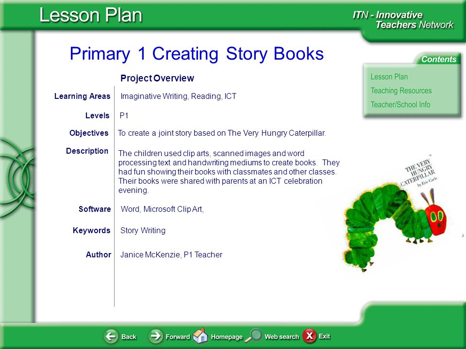 Primary 1 Creating Story Books AuthorJanice McKenzie, P1 Teacher To create a joint story based on The Very Hungry Caterpillar.Objectives Word, Microsoft Clip Art, Software Description The children used clip arts, scanned images and word processing text and handwriting mediums to create books.