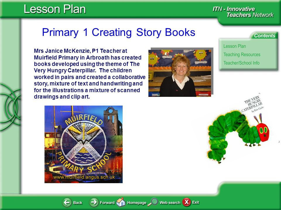 Primary 1 Creating Story Books Mrs Janice McKenzie, P1 Teacher at Muirfield Primary in Arbroath has created books developed using the theme of The Very Hungry Caterpillar.