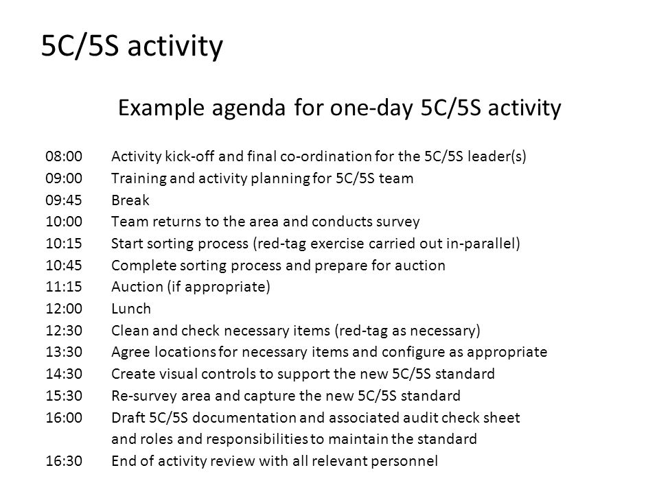 5C/5S activity Example agenda for one-day 5C/5S activity 08:00Activity kick-off and final co-ordination for the 5C/5S leader(s) 09:00Training and acti