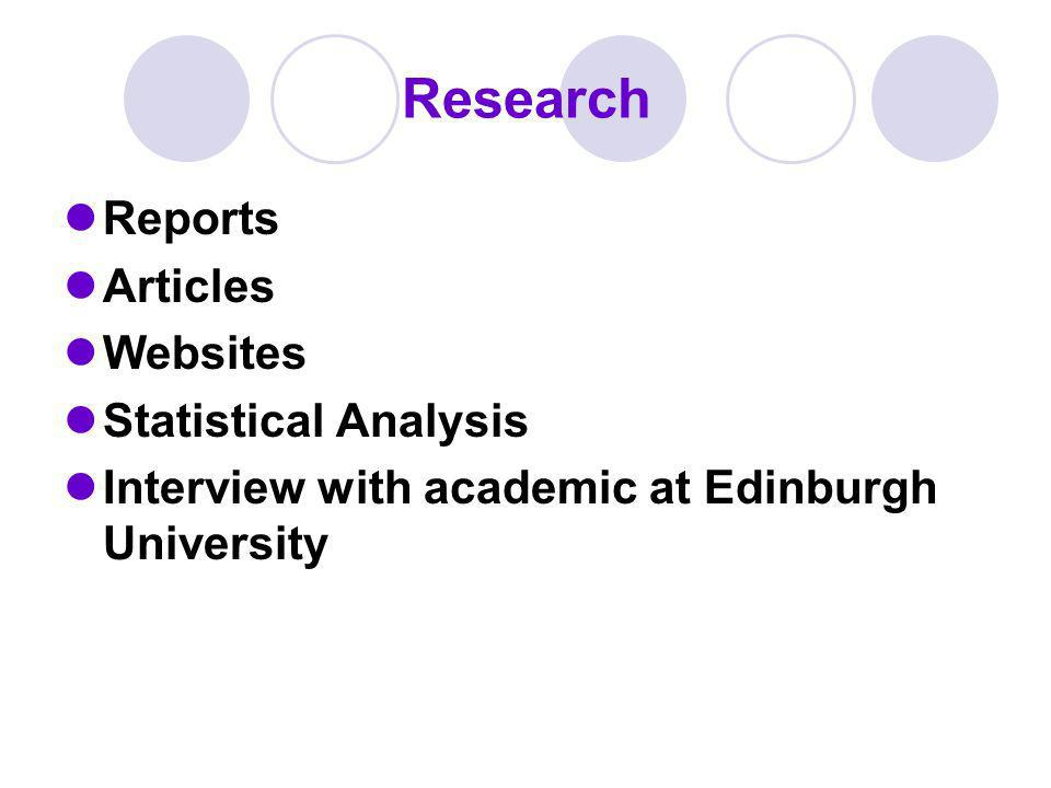 Research Reports Articles Websites Statistical Analysis Interview with academic at Edinburgh University