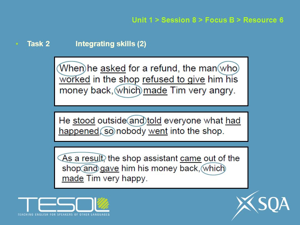 Unit 1 > Session 8 > Focus B > Resource 6 Task 2 Integrating skills (2)
