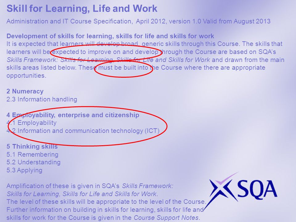 Skill for Learning, Life and Work resources SfLLW framework: SfLLW FrameworkSfLLW Framework SQA Skills webpages: Employability and EnterpriseEmployability and Enterprise Skill set focus Course / Unit Specs : http://www.sqa.org.uk/sqa/45625.3728.htmlhttp://www.sqa.org.uk/sqa/45625.3728.html