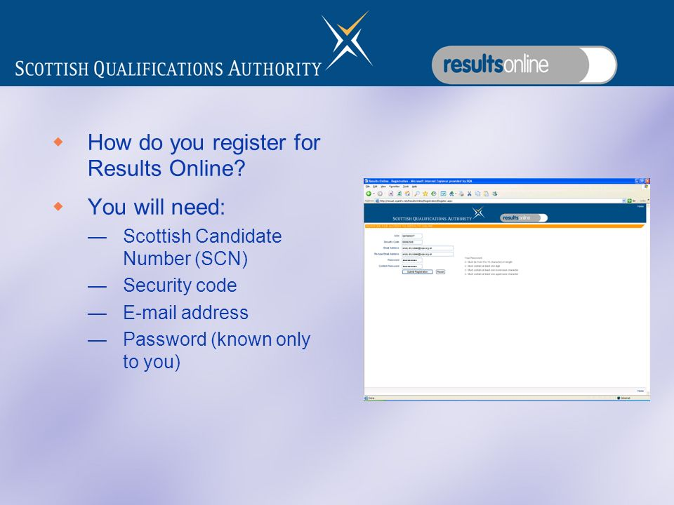 How do you register for Results Online.
