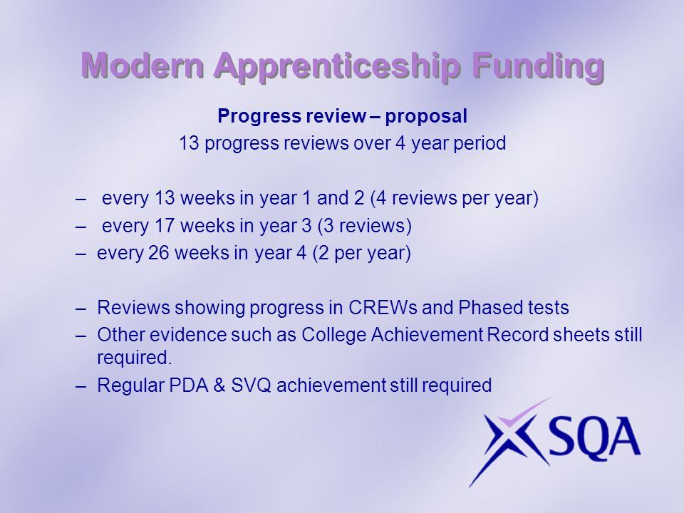 Modern Apprenticeship Funding Progress review – proposal 13 progress reviews over 4 year period – every 13 weeks in year 1 and 2 (4 reviews per year) – every 17 weeks in year 3 (3 reviews) –every 26 weeks in year 4 (2 per year) –Reviews showing progress in CREWs and Phased tests –Other evidence such as College Achievement Record sheets still required.