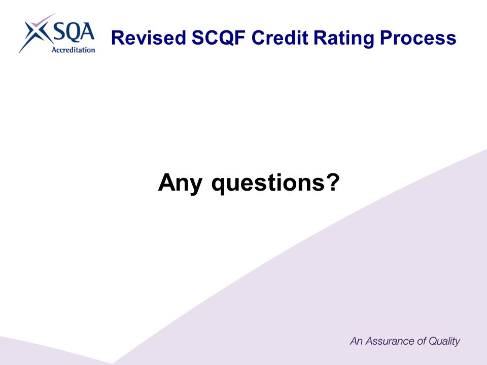 Any questions? Revised SCQF Credit Rating Process