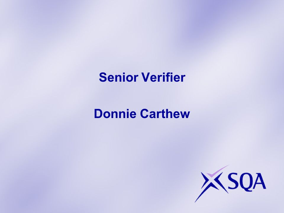 Senior Verifier Donnie Carthew