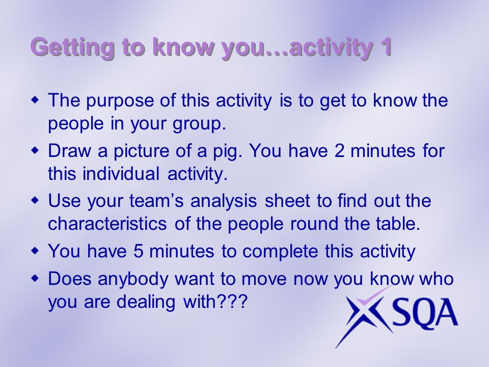 Getting to know you…activity 1 The purpose of this activity is to get to know the people in your group.