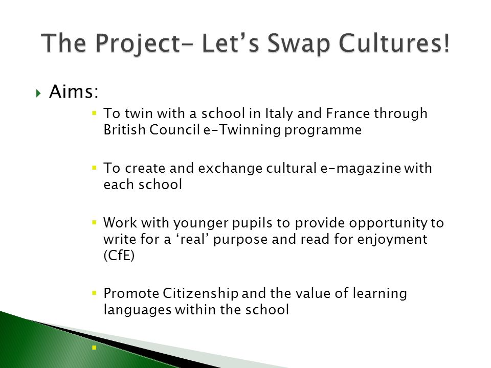 Virtual Environments: British Council e-Twinning site Magazine Factory site Real People/ Agencies: Teacher in Verona French teacher in Annecy Journalists News Agency School contacts outside Languages Faculty: School Magazine co-ordinator School website manager
