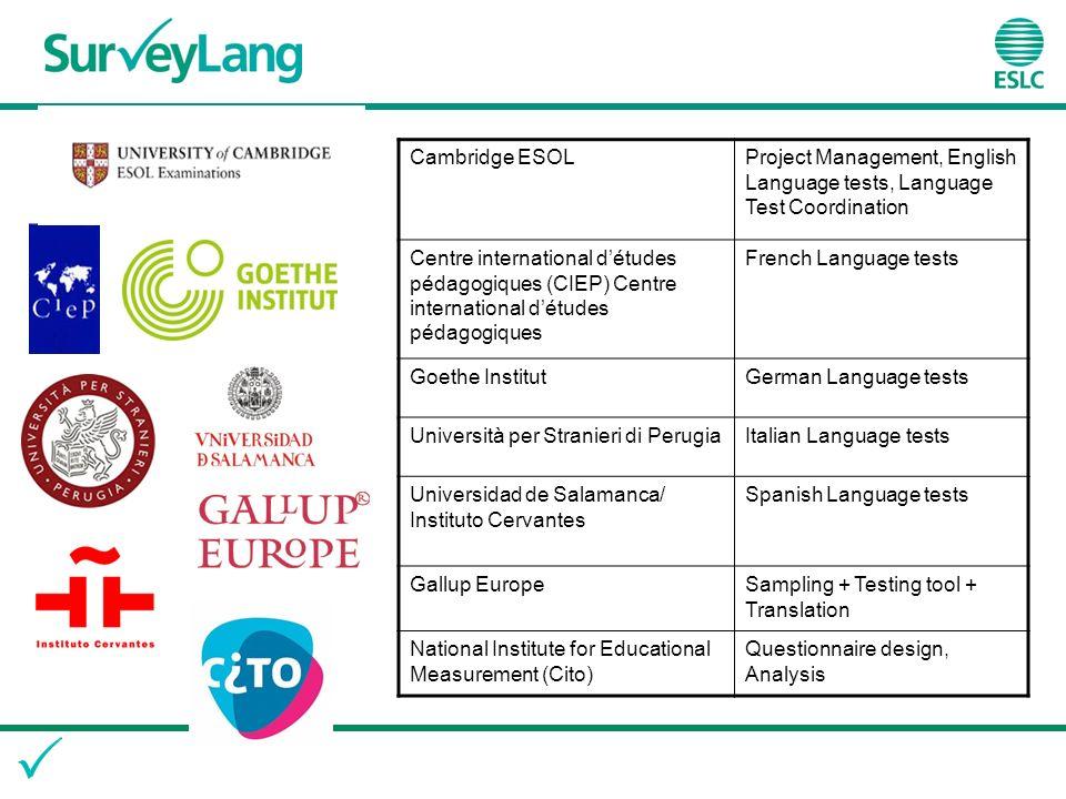 Cambridge ESOLProject Management, English Language tests, Language Test Coordination Centre international détudes pédagogiques (CIEP) Centre internati