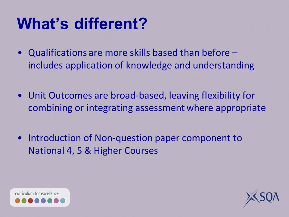 Whats different? Qualifications are more skills based than before – includes application of knowledge and understanding Unit Outcomes are broad-based,