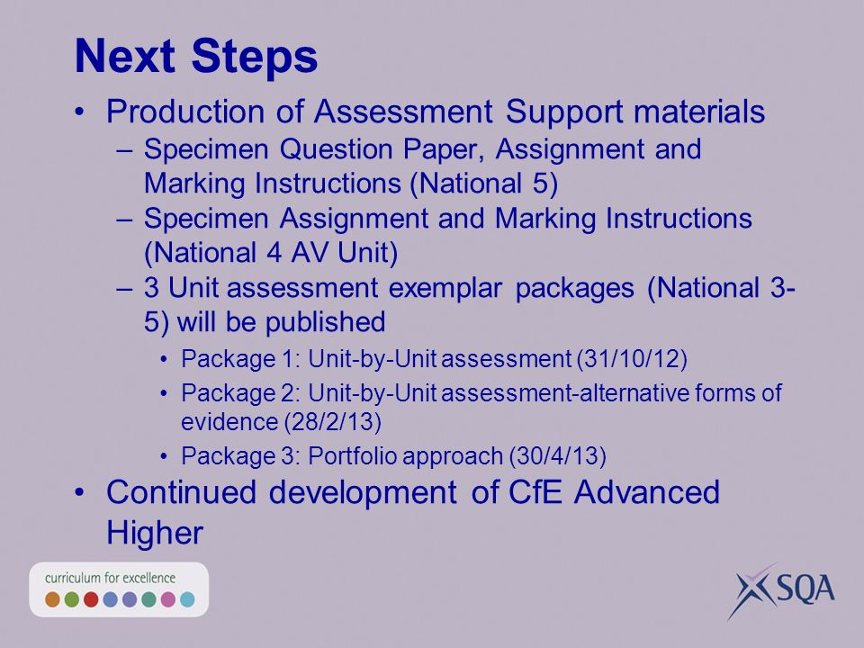 Next Steps Production of Assessment Support materials –Specimen Question Paper, Assignment and Marking Instructions (National 5) –Specimen Assignment