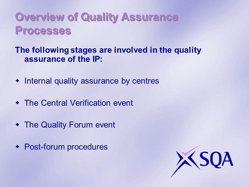 Overview of Quality Assurance Processes The following stages are involved in the quality assurance of the IP: Internal quality assurance by centres The Central Verification event The Quality Forum event Post-forum procedures