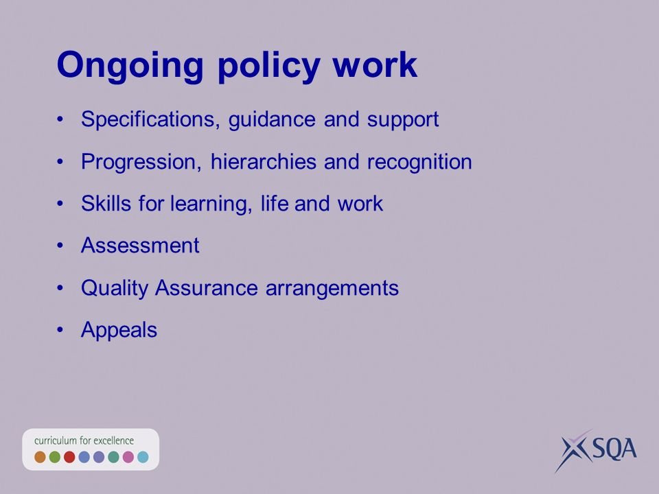 Ongoing policy work Specifications, guidance and support Progression, hierarchies and recognition Skills for learning, life and work Assessment Qualit