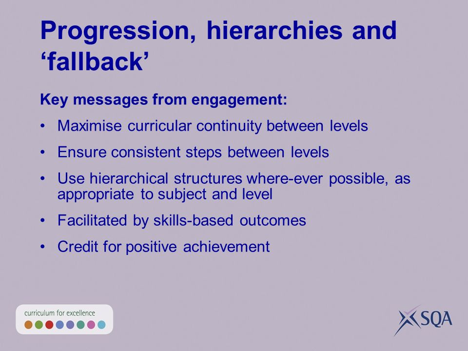 Progression, hierarchies and fallback Key messages from engagement: Maximise curricular continuity between levels Ensure consistent steps between leve